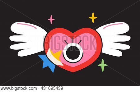 Crazy Face Sticker Vector. Abstract Comic Character With Big Angry Eye
