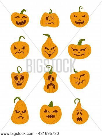 Pumkin Scary Halloween Face Vector Set. Halloween Pumpkin Or Ghost Grimace.