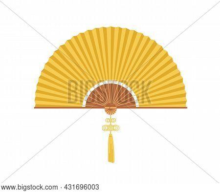 Asian Folding Hand Fan With Fringe. Japanese Handheld Bending Paper Object. Traditional Oriental Fol