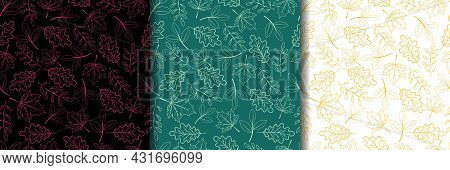 Leaves Background. Autumn Background With Line Drawn Leaves On Different Backgrounds. Set Of Seamles