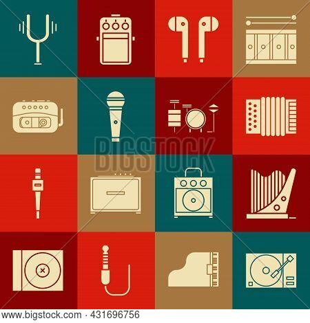 Set Vinyl Player With A Vinyl Disk, Harp, Musical Instrument Accordion, Air Headphones, Microphone,