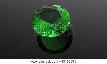 Emerald. Jewelry gems roung shape on black background poster