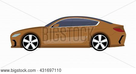 Modern Car. Side View Of A 4-door Business Sedan. Vector Car Icon For Road Traffic And Transportatio