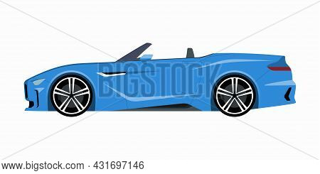 Modern Roadster. Side View Of A Convertible Or Cabriolet. Vector Car Icon For Road And Transportatio