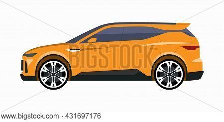 Modern Suv Car. Side View Of A Crossover Vehicle. Vector Car Icon For Road Traffic And Transportatio