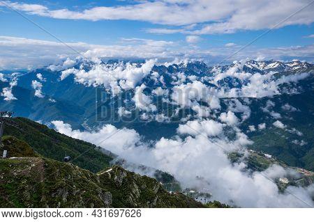 View Of Caucasian Mountains In Resort Red Glade, Krasnodar Krai, Russia