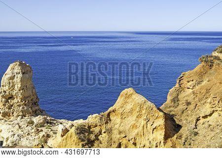 Algar Seco, Rocks Formations, Natural Landscape In Carvoeiro, Lagoa, Algarve, Portugal