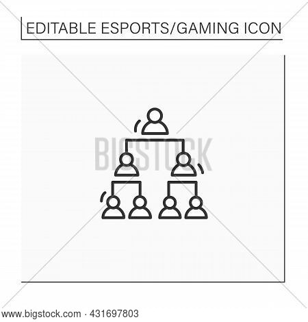 Double Elimination Tournament Line Icon. Elimination After Two Defeats. Team Gaming. One Winner. Cyb