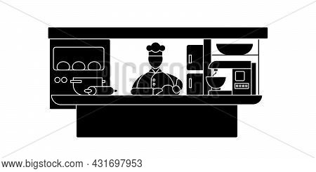 Cook Glyph Icon. Man Cooks Food. Working In Restaurants. Cooking.important Job.professions Concept.