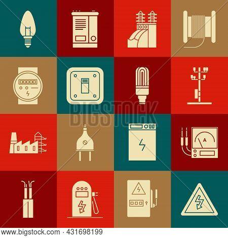 Set High Voltage Sign, Ampere Meter, Multimeter, Voltmeter, Power Pole Line, Nuclear Plant, Electric