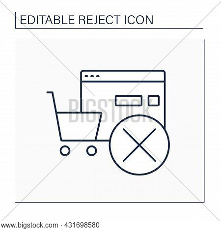 Rejected Order Line Icon. Cancel Online, Offline Shopping. Pending Shopping Cart Requests. Reject Co