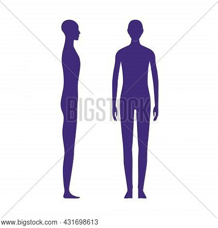 Gender Neutral Human Front And Side View Silhouettes.