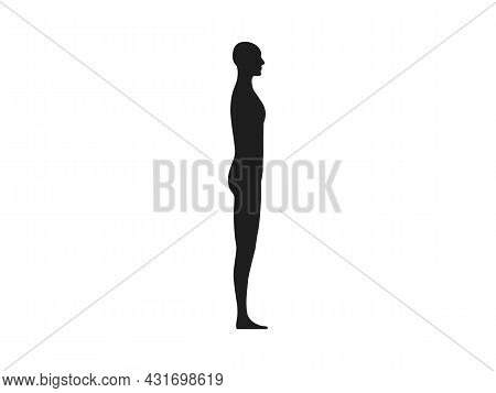 Side View Of A Male Human Body Silhouette.