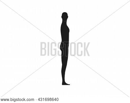 Side View Silhouette Of A Male With Head Turned Front.