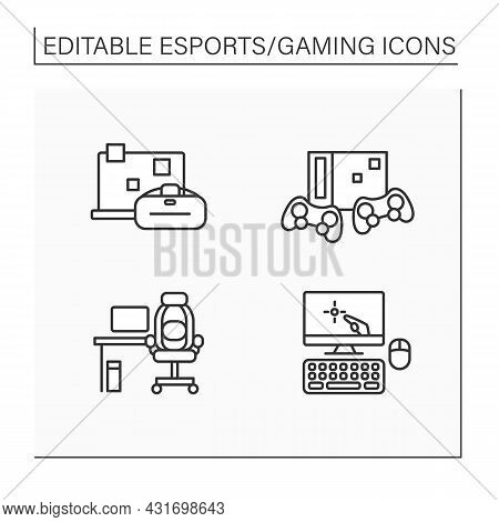 Esports Line Icons Set. Furniture, Laptop And Technical Equipment. First Person Shooter.gaming Conce