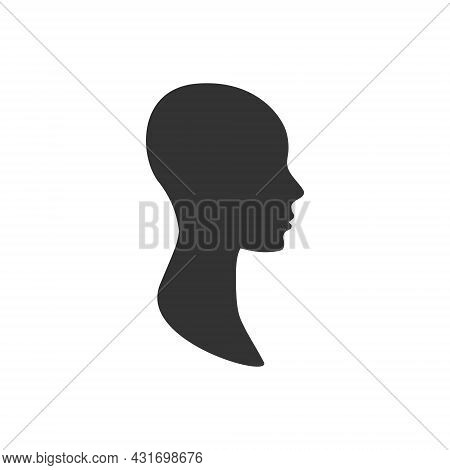 Anonymous Profile Avatar Of A Side View Female Face.