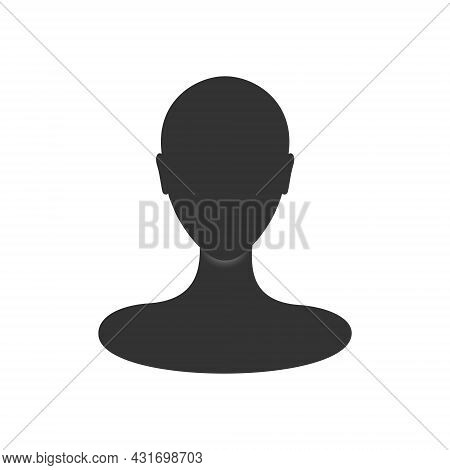Woman Profile Avatar Silhouette. Front View Of An Anonymous Female Person Face.