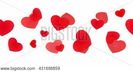 Seamless Heart Web Banner. Decorative Framing Line With Scattered Hearts