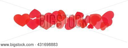 Decorative Line Of Piled Hearts Of Various Sizes