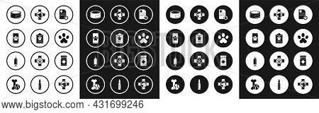 Set Clipboard With Medical Clinical Record Pet, Online Veterinary Symbol, Canned Food, Paw Print, Ve