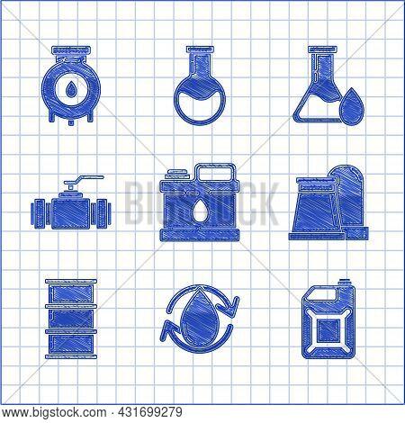 Set Canister For Motor Machine Oil, Oil Drop, Gasoline, And Industrial Factory Building, Barrel, Ind