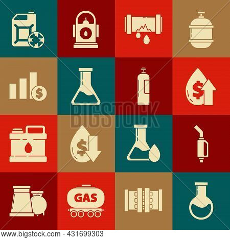 Set Test Tube And Flask, Gasoline Pump Nozzle, Oil Price Increase, Broken Metal Pipe With Leaking Wa