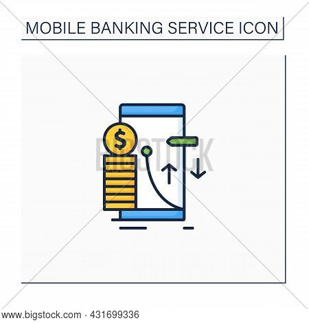 Transaction Limit Color Icon. Cash Limits For Different Operations. Prohibition Transferring Money B