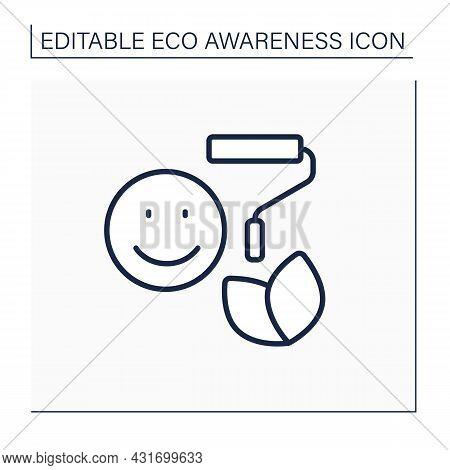 Green Camouflage Line Icon. Greenwashing. Eco Marketing. Green Pr And Company Image. Eco Awareness C