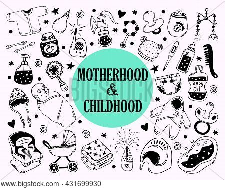 Motherhood And Childhood Doodles Vector Set. Hand-drawn Monochrome Illustrations Isolated On White B