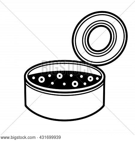 Open Tin Can Vector Icon. Hand-drawn Aluminum Packaging With Food Inside. A Sketch Of A Camping Meal
