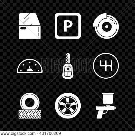 Set Car Door, Parking, Brake Disk With Caliper, Wheel, Paint Spray Gun, Speedometer And Key Remote I
