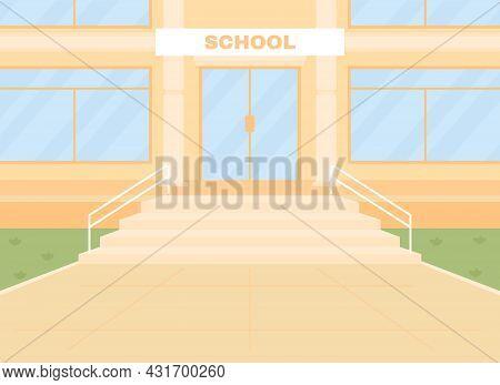Daylight Empty School Entrance Flat Color Vector Illustration. School Building Front 2d Cartoon Exte