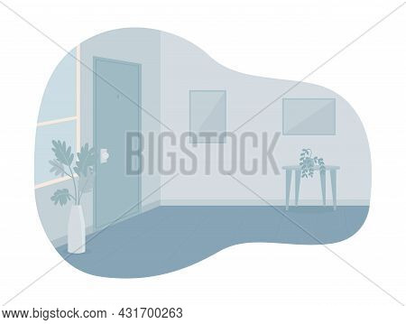 Empty Room With Closed Door 2d Vector Isolated Illustration. No People At Place Flat Characters On C