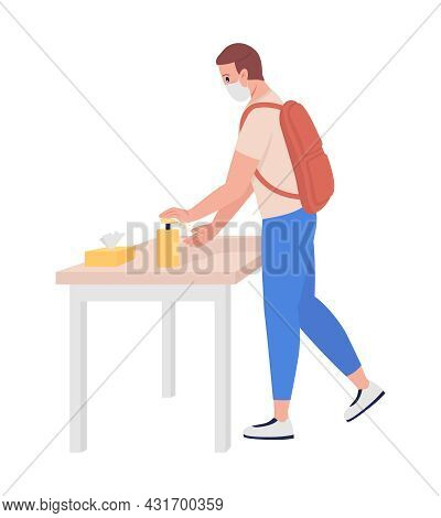 Teenage Boy Sanitizes His Hands Semi Flat Color Vector Character. Schoolboy Figure. Full Body Person