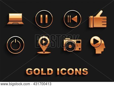 Set Digital Media Play With Location, Hand Like, Head People Button, Photo Camera, Power, Rewind, La