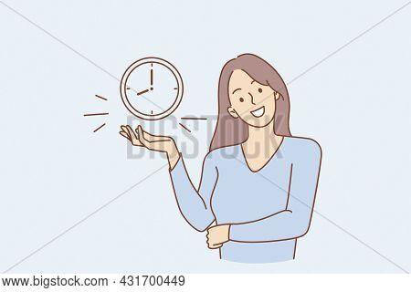 Successful Time Management And Alarm Concept. Young Smiling Woman Cartoon Character Standing Showing