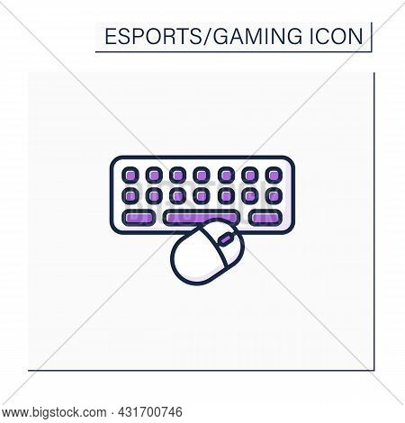 Technical Equipment Color Icon. Keyboard And Mice For Playing Video Games. Online Gaming Tools. Cybe