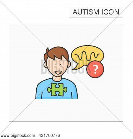 Neurodevelopmental Disorder Color Icon. Abnormal Voice Tone. Atypical Speech.odd Rhythm Or Pitch. Au