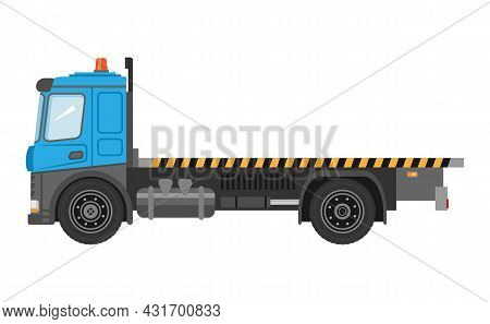 Flatbed Truck On White Background. Vector Isolated Illustration. Delivery Truck Icon. Vector Graphic