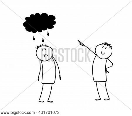 Two People Speak. Gloomy And Cheerful. Sketch. Vector Illustration.
