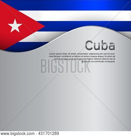 Cover, Banner In State Colors Of Cuba. National Cuban Poster. Abstract Flag Of Cuba. Creative Wavy M