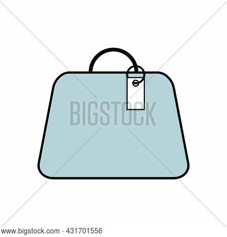 Women's Fashionable Light Blue Bag With A Tag. Flat Vector Illustration. Style Concept.