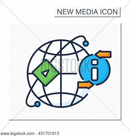 Media Sharing Networks Color Icon. Ability To Upload Photos, Video, Audio Content. Global Network. S