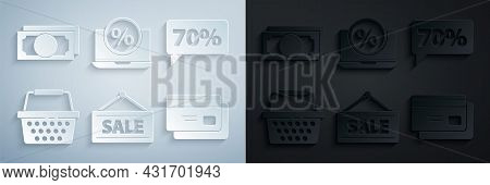 Set Hanging Sign With Sale, Seventy Discount Percent Tag, Shopping Basket, Credit Card, Percent And