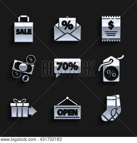 Set Seventy Discount Percent Tag, Hanging Sign With Open, Socks, Discount, Gift Box, Money Cash And