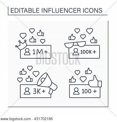 Influencer Line Icons Set. Micro, Macro, Nano Bloggers. Blogging Concept. Isolated Vector Illustrati