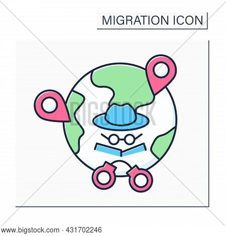 Irregular Migration Color Icon. Illegal Movement. Movement To New Place Of Residence Outside Regulat