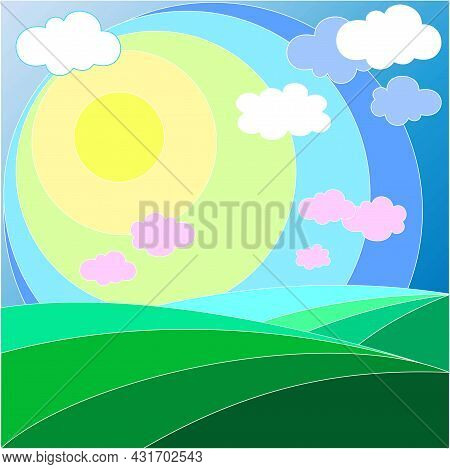 Green Hills Of Different Shades, Blue Sky, White And Pink Clouds, Bright Rainbow Sun, Summer Mood, C