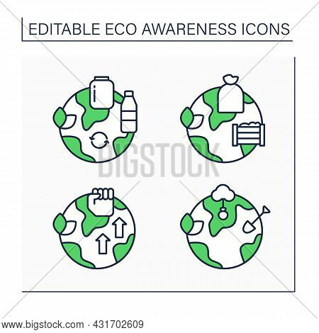Eco Awareness Line Icons Set. Composting, Reforestation, Eco-activism, Reusable Products. Ecology Co