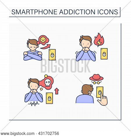Smartphone Addiction Color Icons Set. Increasing Stress, Concealing Smartphone Use, Anxiety Feeling.